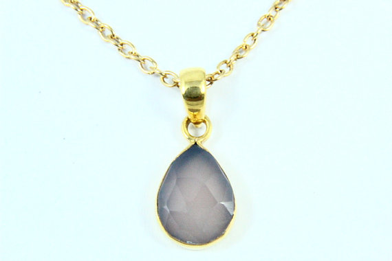 Natural Pink Chalcedony Necklace, Pink Chalcedony Pendant, Gemstone Necklace Stone Jewelry, 14K Gold Plated, Gold Necklace, Gemstone Jewelry