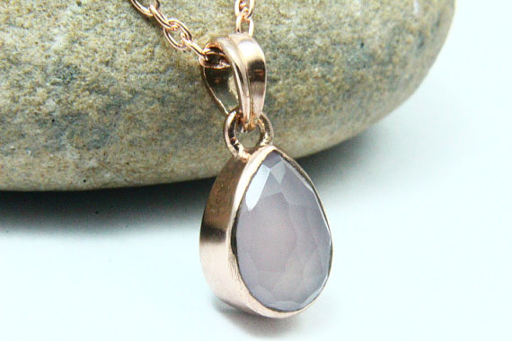 Natural Pink Chalcedony Necklace, Pink Chalcedony Pendant, Gemstone Necklace, 18K Rose Gold Plated, Rose Gold Necklace, Gemstone Jewelry