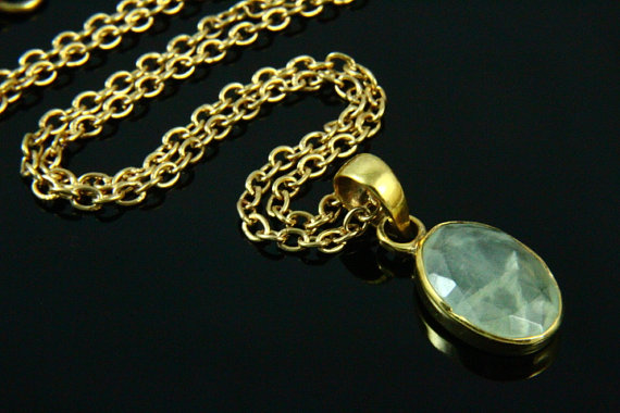Natural Prehnite Necklace, Prehnite Pendant, Gemstone Necklace, Prehnite Jewelry, 14K Gold Plated, Gold Necklace, Gemstone Jewelry