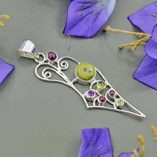 Natural Tasmanian Serpentine, Ruby, Idocrase, Amethyst & Peridot Multi Gemstone Sterling Silver Handmade Pendant