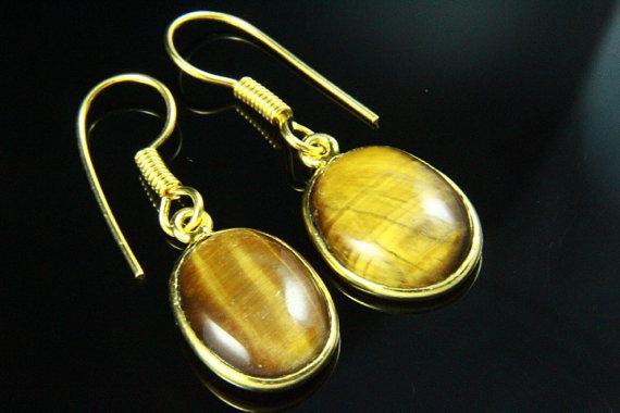 Natural Tiger Eye Earrings, Tigereye Stone Earrings, Gemstone Earrings,18K Gold Plated, Gold Earrings, Gemstone Jewelry