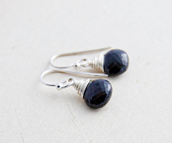 Onyx Earrings, Drop Earrings, Gemstone Earrings, Black Stone, Wire Wrapped, Dangle Earrings, Black Earrings, Gemstone Jewelry,