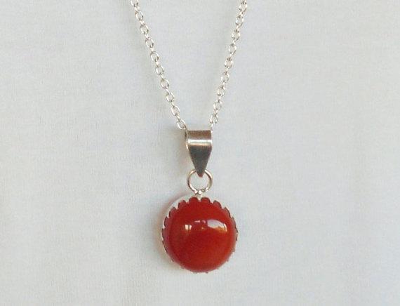 Onyx Necklace, Red Onyx Gemstone Necklace, Onyx Necklace, Onyx Jewelry, Silver Necklace, Pendant Necklace, Gift,Red Necklace, Red Jewelry