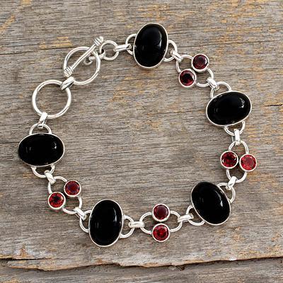 Onyx and Garnet Bracelet  Silver Jewelry