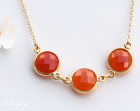 Orange Carnelian Necklace - Three stone necklace - Bezel Gemstone Connecters - Gold Necklace - Wedding Jewelry
