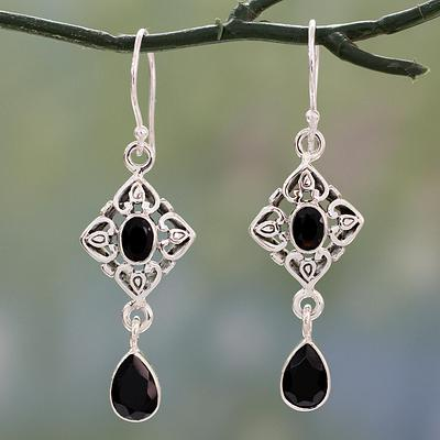 Ornate Black Onyx and Sterling Silver Dangle Style Earrings, 'Regal in Black'