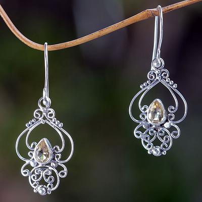 Ornate Citrine and Sterling Silver Dangle Earrings, 'Golden Arabesque'