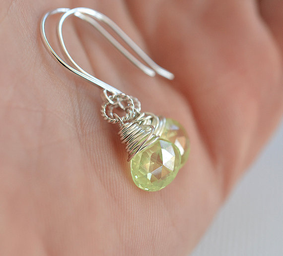 Pale Green Zircon Earrings, Sterling Earrings, Natural Zircon Earrings, Spring Green Gemstone Earrings, Briolette Earrings, Swing Earrings
