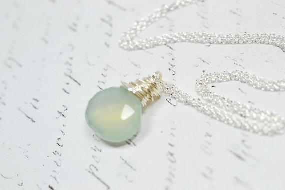 Pale Mint Gemstone Necklace, Aqua Chalcedony Seafoam Glowing Necklace, Wire Wrapped Briolette Gemstone Jewelry