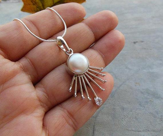 Pearl pendant - Bridal jewelry - Artisan pendant - Bezel pendant Cabochon pendant - Bridal pendant