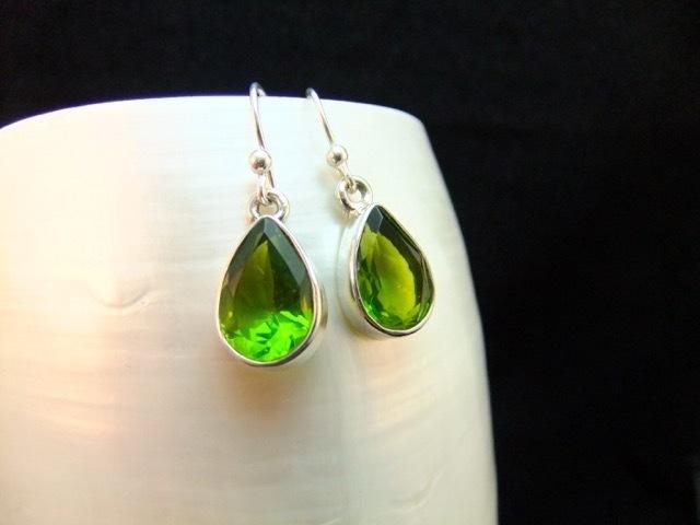 Peridot Gemstone Sterling Silver Stud Earrings Inspired by Sonoma Valley