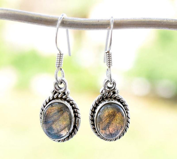 Petite Labradorite Earrings Oxidized Sterling Silver Gemstone Earrings Dangle Earrings Blue Flash Blue Gray Fashion Earrings