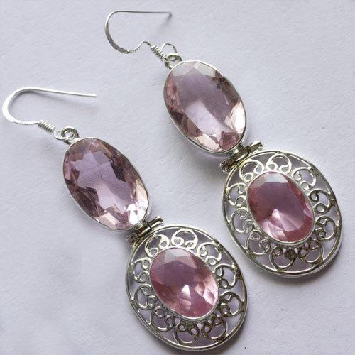 Pink Quartz Gemstone Earring 925 Solid Silver Handmade Jewelry