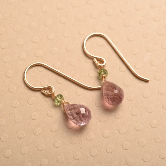 Pink Tourmaline Gold Earrings, Gemstone Drop Earrings, Pink Green Gemstone Earrings, Healing Gemstone Jewelry