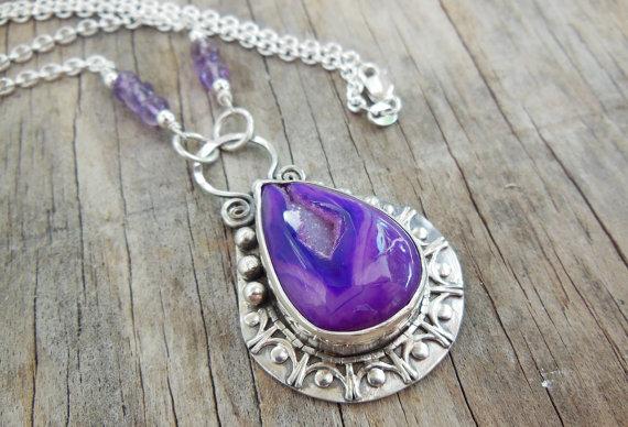 Purple Druzy Pendant Necklace, Sterling Silver, Gemstone Pendant, Purple Bezel Set Stone, Large Statement Necklace