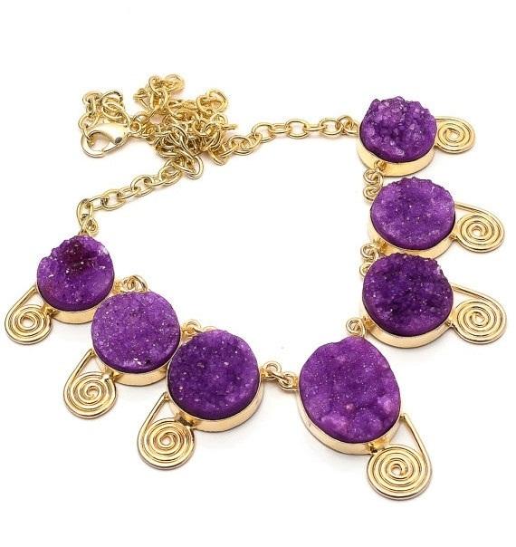 Purple Druzy Statement Necklace Bib Necklace Gemstone Necklace Purple Agate Necklace