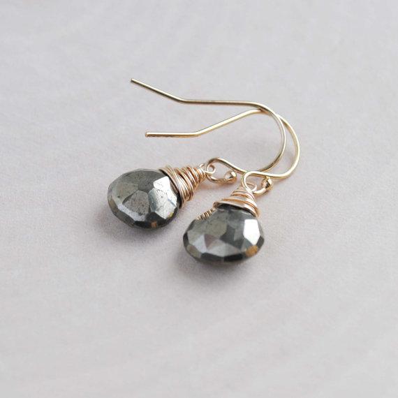 Pyrite Earrings - Pyrite Drop Earrings - Pyrite Jewelry