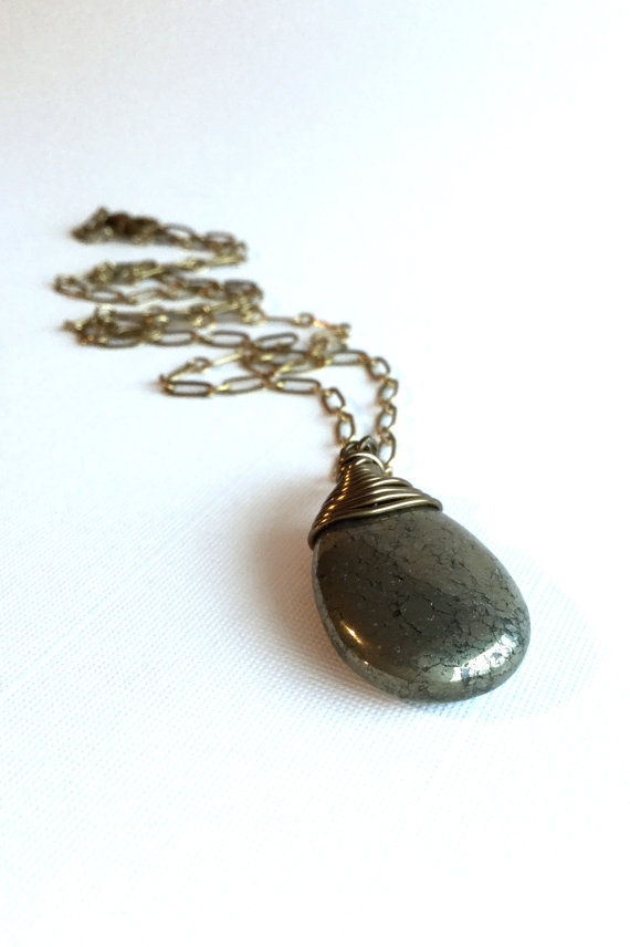 Pyrite Necklace, Teardrop Stone Necklace Pendant, Brass Wire Wrapped Boho Chic Jewelry, Long Chain Necklace, Wire Wrap Pendant