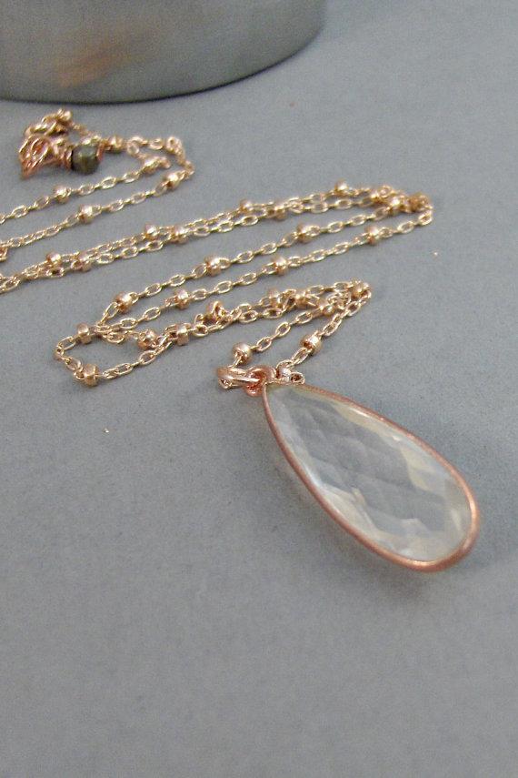 Quartz Necklace,Quartz,Rose Gold Necklace,Rose Gold Gemstone,Rose Gold,Gemstone Necklace,Crystal,Gemstone Necklace,Stone,.SeaMaidenJewelry