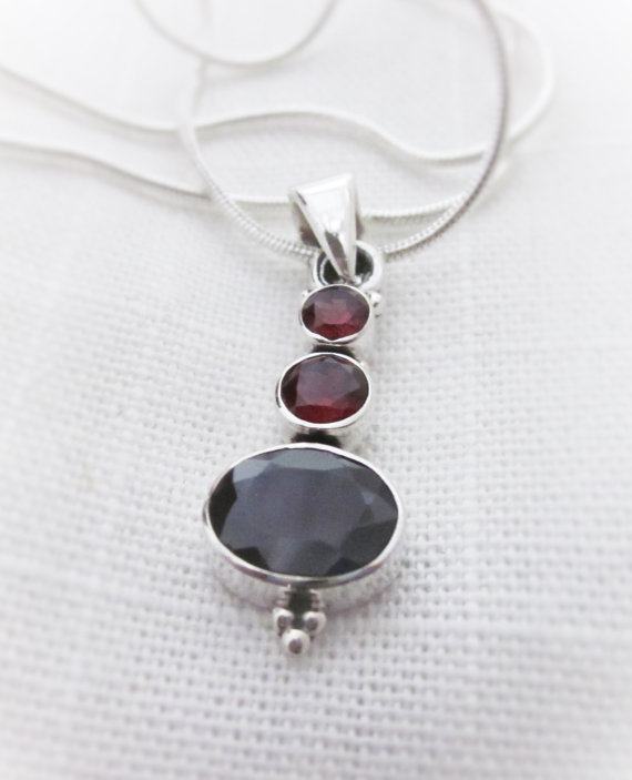 Radiant Red Garnet Gemstone Pendant Necklace
