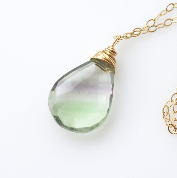 Rainbow Fluorite Necklace Gold Luxe Mint Green Striped Gemstone Jewelry Minimalist Boho Layering Necklace Spring Multicolored