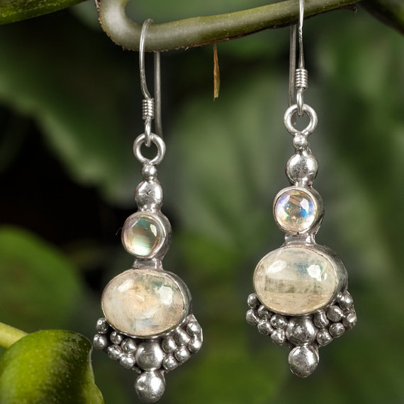 Rainbow Moonstone Earrings - Sterling Silver Tear Drop Earrings - Bezel Set Statement Earrings - Gemstone Earrings June Birthstone