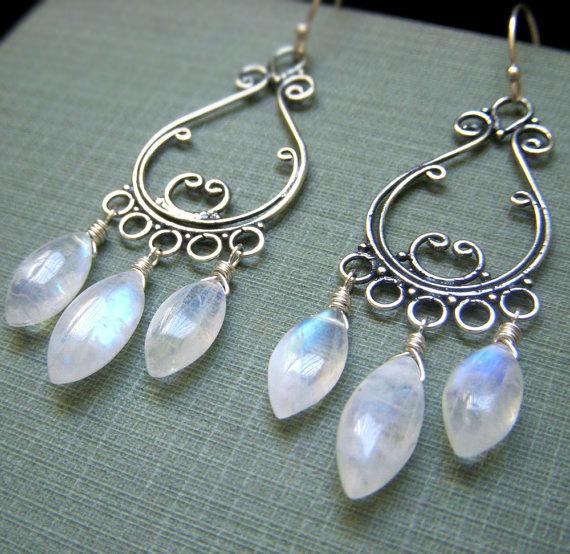 Rainbow Moonstone Earrings Sterling Silver, Wirewrapped Genuine Gemstone Chandelier Briolette, Bohemian Boho Chandeliers