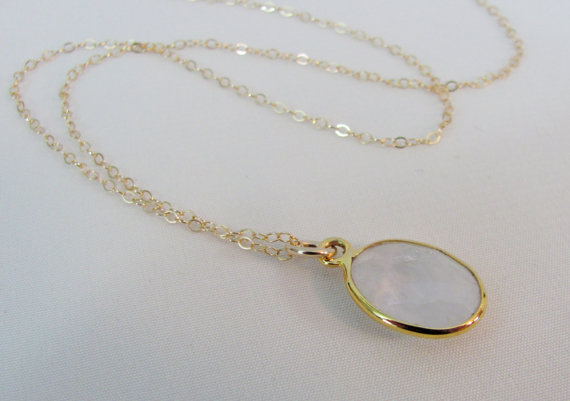 Rainbow Moonstone Gold Necklace, Gold Moonstone Bezel, Moonstone Pendant, Moonstone Gemstone Jewelry, Bride Necklace, Wedding Jewelry