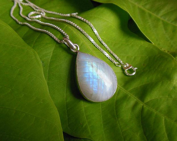 Rainbow Moonstone pendant necklace - Tear drop pendant - Bezel pendant - Gemstone
