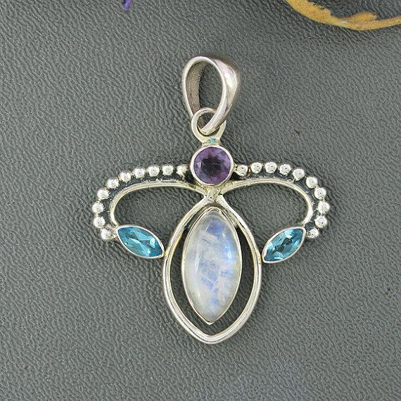 Rainbow Moonstone, Blue Topaz & Amethyst Pendant, Solid Sterling Silver Jewelry, Bezel Set Designer Jewelry, Birthstone Gift