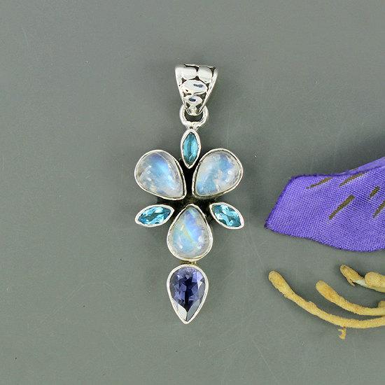 Rainbow Moonstone, Blue Topaz, Amethyst Gemstone Pendant, Solid Sterling Silver Pendant, Natural Gemstone Pendant Gift Jewelry-