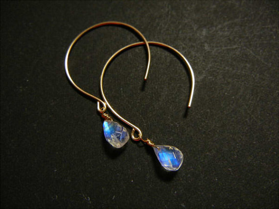 Rainbow moonstone Earrings2, Dangle Earrings, Gold Earrings, Drop Earrings, Gemstone Earrings