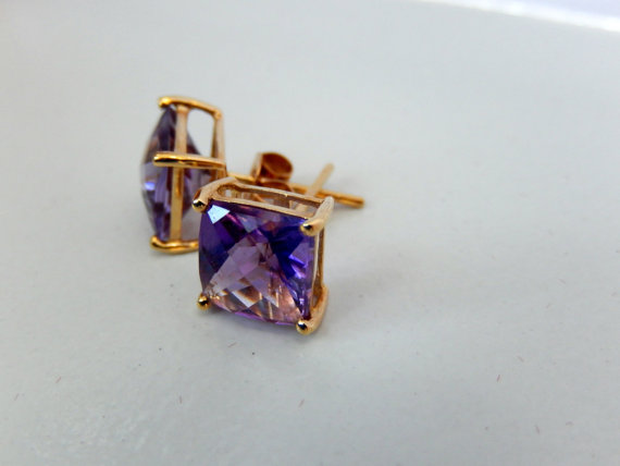 Rare purple gemstone earrings, Amethyst Earrings, 14k Yellow Gold, Brazilian gemstone, purple earrings, ladies earrings