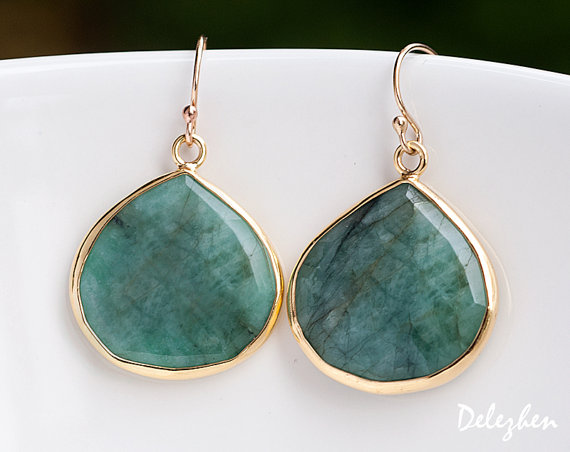 Raw Emerald Earrings - Bezel Gemstone Earrings - May Birthstone Jewelry - Silver Earrings - Drop Earrings