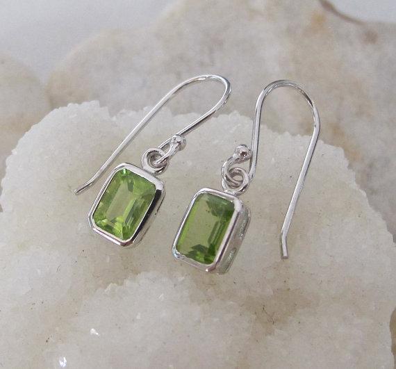 Rectangular Shaped Peridot Earrings- Rectangle Earrings- Gemstone Earrings- August Birthstone Earrings