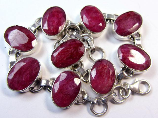 Red Corundum Gemstone Silver Bracelet