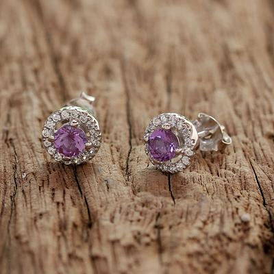 Amethyst and Cubic Zirconia Stud Earrings