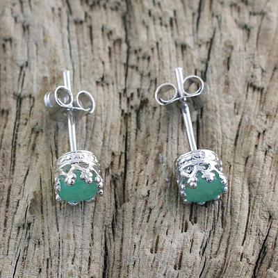Rhodium Plated Emerald Stud Earrings