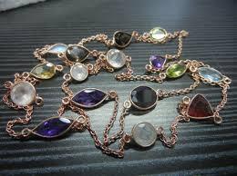 Rose Gold Plated Sterling Silver Bezel Set Necklace