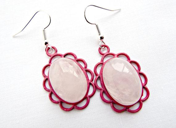Rose Quartz Earrings, Scallop Edge, Rose Quartz Stones, Dangle Quartz, Oval Earrings, Handpainted Base, Gemstone Earrings