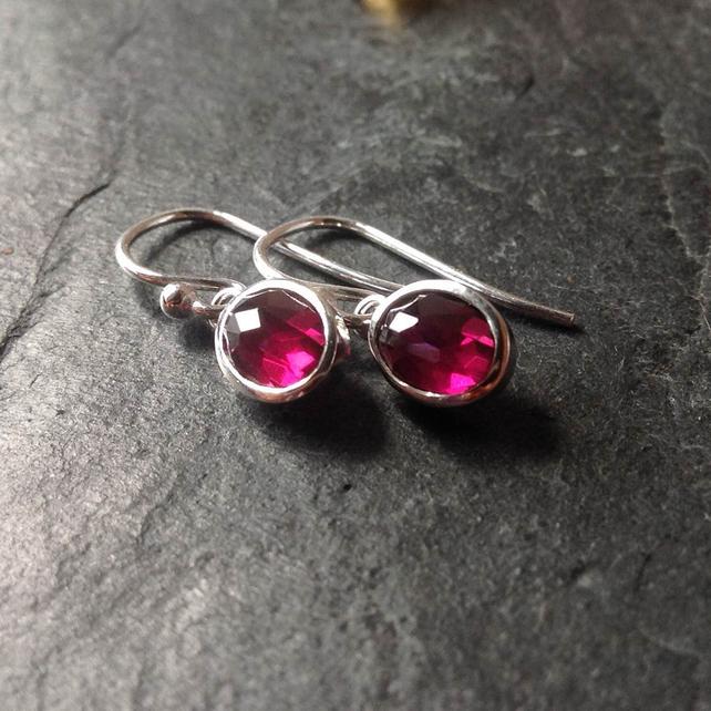 Rose cut gemstone drop earrings with rhodolite garnet