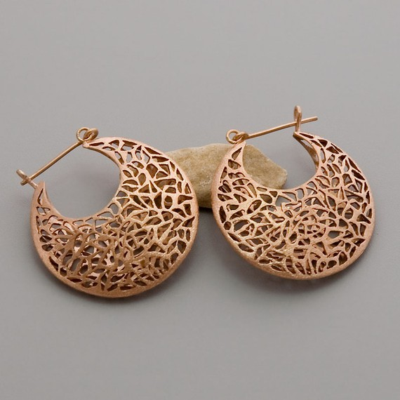 Rose gold plated silver jewellery earrings