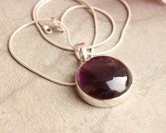 Round Amethyst Pendant - February Birthstone - Purple pendant - Bezel set pendant - gemstone pendant