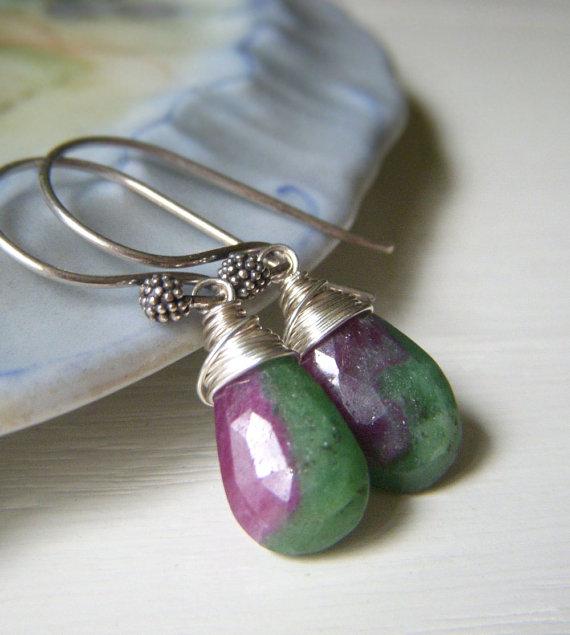 Ruby in Zoisite Earrings on Sterling Silver, Wirewrapped Teardrop Burgundy Gemstone Briolette Minimalist Dangle