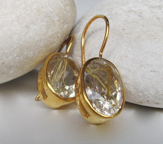Rutilated Quartz Earring- Quartz Earring- Gemstone Earring- Dangle Earring- Gold Rutile Earring- Statement Earring