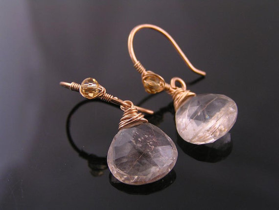 Rutilated Quartz Earrings in Solid Bronze, Wire Wrapped Earrings, Artisan Earrings, Handmade Earrings, Large Gemstone Earrings, Gem Jewelry
