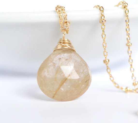 Rutilated Quartz Necklace Rutile 14k Gold Filled Rustic Simple Gemstone Jewelry Modern Petite Necklace Dainty