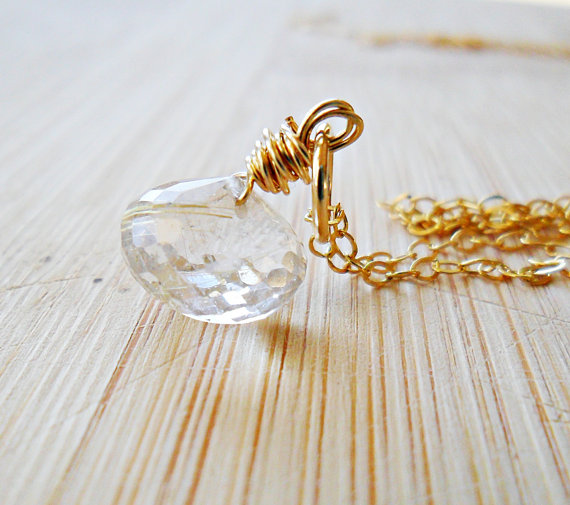 Rutilated Quartz Necklace, Golden Quartz 14k Gold Fill Gold Gemstone Jewelry Mothers Necklace