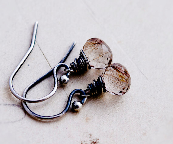 Rutilated Quartz, Wire Wrapped, Dangle Earrings, Quartz Earrings, Sterling Silver, Rutilated Gold, Copper Gemstones, Antiqued