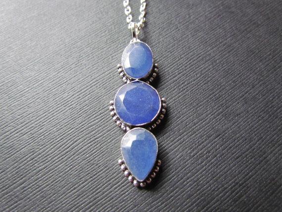 Sapphire Necklace - Blue Faceted Sapphire Pendant - Stunning Blue Gemstone Jewelry - Statement Necklce
